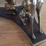 Image of Trio of Whippets Brass Wooden Base Cocktail Table
