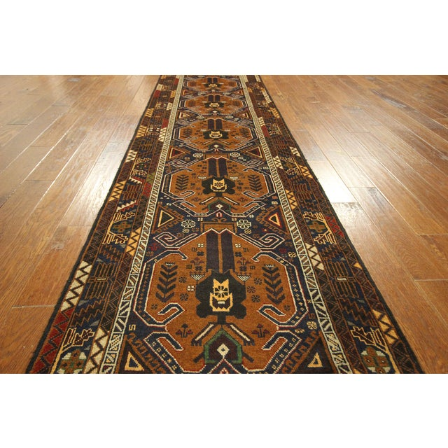 "Brown & Navy Balouch Runner Rug - 3' x 9'10"" - Image 5 of 9"