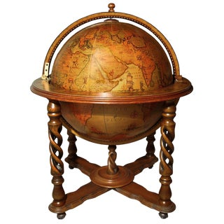 Italian Fruitwood Globe Bar