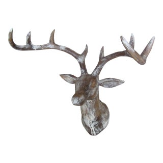 Hand Carved Wood Deer Head (Buck)