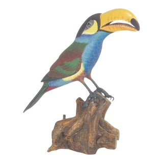Highly Detailed Carved and Painted Wood Tucan
