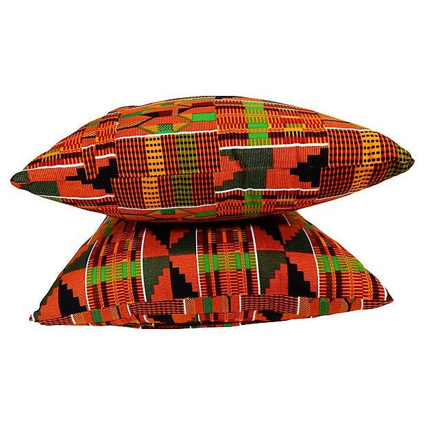 Kente Cloth Pillows, Pair - Image 5 of 5