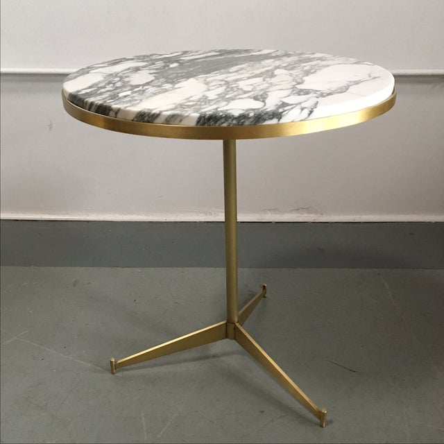 paul mccobb white marble brass side table chairish. Black Bedroom Furniture Sets. Home Design Ideas