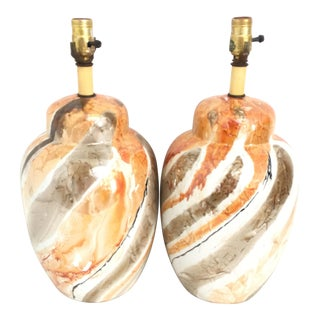 Marbled Ginger Jar Lamps - A Pair