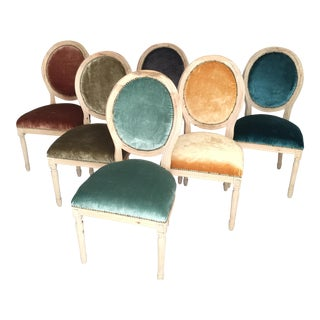Silk Velvet & Animal Hide Chairs - Set of 6