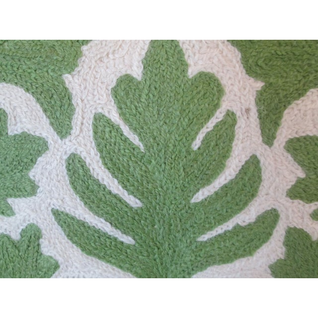 Green Crewel Embroidered Pillow - Image 3 of 5