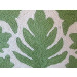 Image of Green Crewel Embroidered Pillow