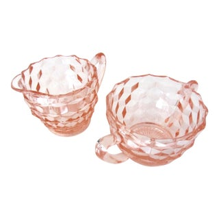Pink Depression Glass Sugar Bowl and Creamer Set