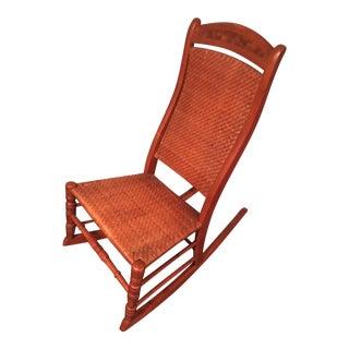 Antique Caned Hardwood Rocking Chair