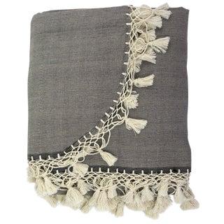"""Oaxaca 120"""" Coverlet Blanket in Gray Cotton"""