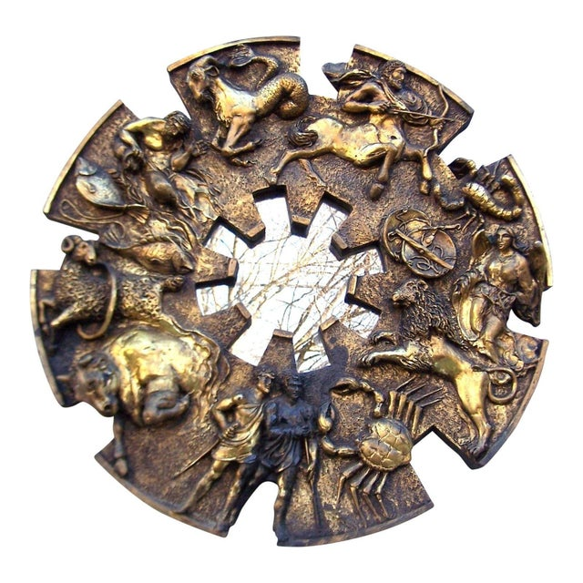 1970s Finesse Brutalist Zodiac Mirror Chairish