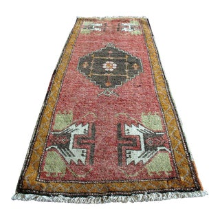 Small Vintage Rug Hand Knotted Turkish Wool Area Rug - 1' x 4'