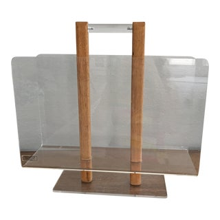 Mid-Century Lucite & Oak Magazine Holder
