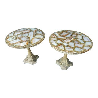 Vintage Arturo Pani Hollywood Regency Agate & Gold Side - A Pair