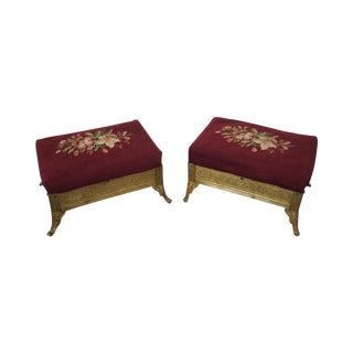 Victorian Aesthetic Brass Footstools, Attributed to Charles Parker- A Pair