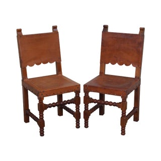 Vintage Spanish Colonial Leather Side Chairs - A Pair