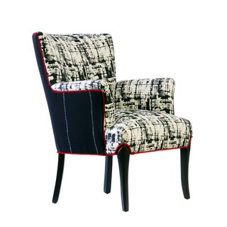"Black & White Upholstered ""Metro"" Armchair"