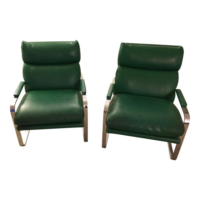 Image of Nickel Frame Scoop Chairs by Milo Baughman - A Pair
