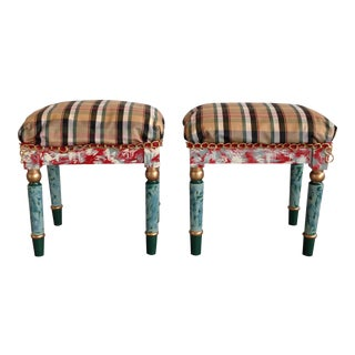 Suga Lane Hand Painted Gold Plaid French Stools - a Pair