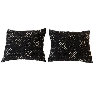 African Mali Mud Cloth Lumbar Pillows - A Pair