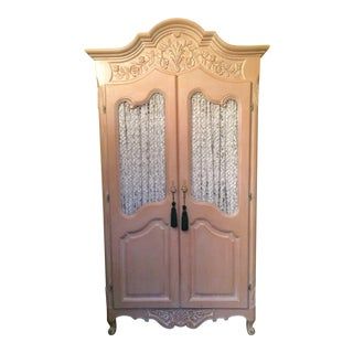 Vintage French Style White Washed Carved Armoire