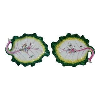 Pair of Chelsea Porcelain Tromp L'oeil Leaf Dishes