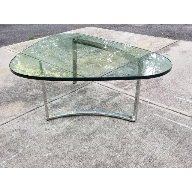Mid-Century Modern Italian Glass & Chrome Boomerang Style Coffee Table - Image 2 of 10