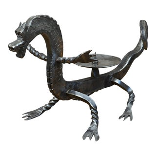 Wrought Iron Dragon Candleholder