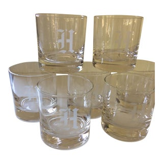 """H"" Monogramed Double Old Fashion Glasses - Set of 7"