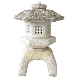Japanese Cast Stone Pagoda Lantern Sculpture