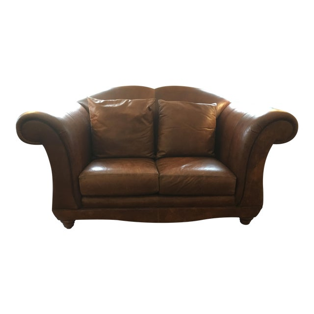 Henredon Registry Brown Leather Loveseat Chairish