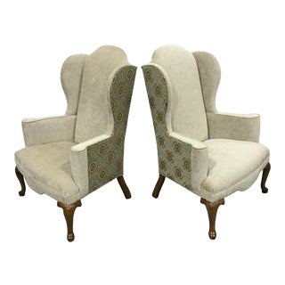 Custom Upholstery Wingback Chairs - Pair