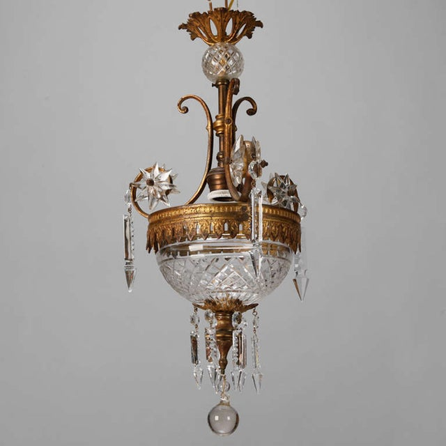 Image of Bronzed Brass French Chandelier with Crystal Bowl