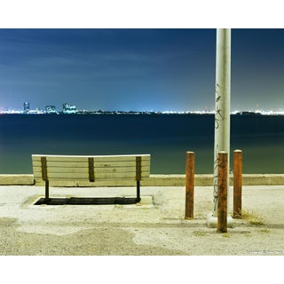 Bench & Poles - Night Photograph by John Vias