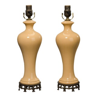 Peach Color Ceramic Table Lamps - A Pair