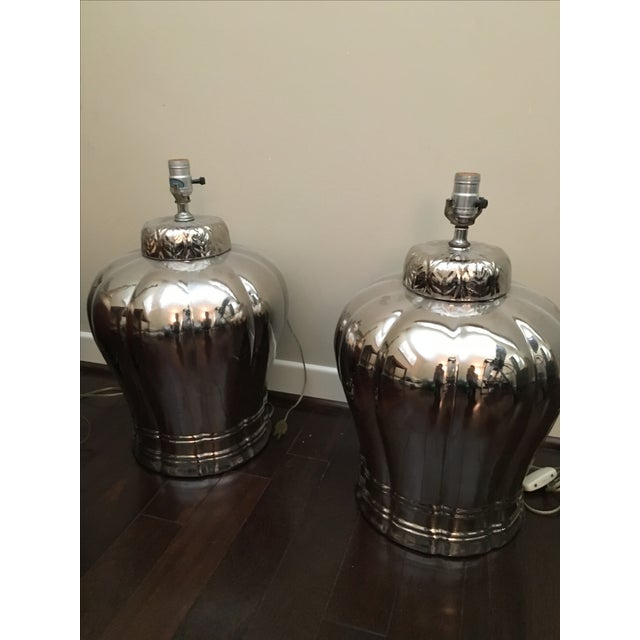 Vintage Silver Ginger Jar Table Lamps - A Pair - Image 6 of 6
