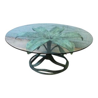 Vintage Arthur Court Style Glass Top Flower Coffee Table