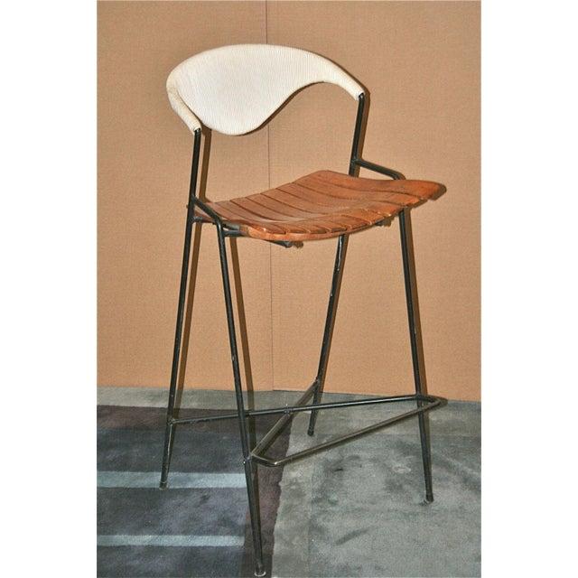 Image of Vintage Arthur Umanoff Wrought Iron Barstools - Set of 5