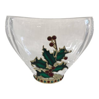 Czech Bohemian Crystal Holiday Bowl