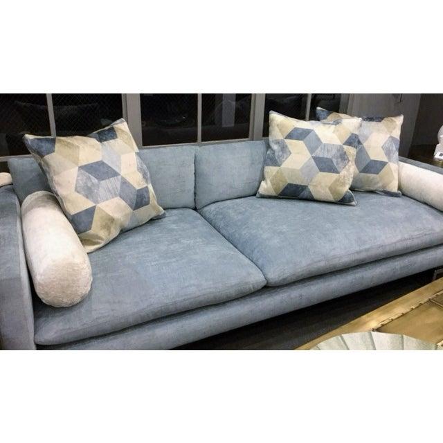 Bonn Blue/Gray Brushed Cotton Sofa & Pillows - Image 2 of 6