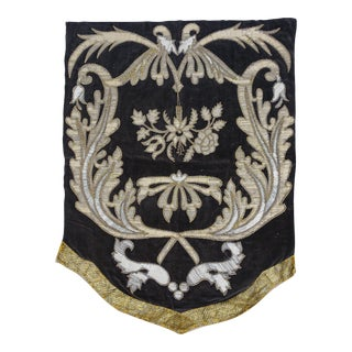19th Century Italian Gold and Silver Metallic Appliqued Textile