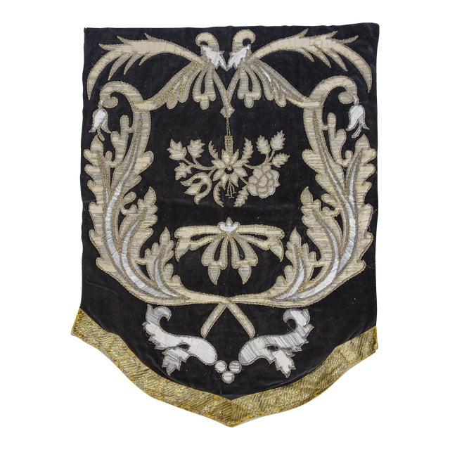 19th Century Italian Gold and Silver Metallic Appliqued Textile - Image 1 of 6