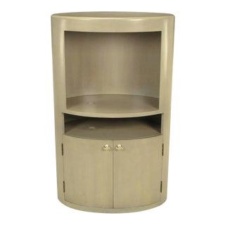 Custom Driftwood Grey Birch Oval Tall Cabinet