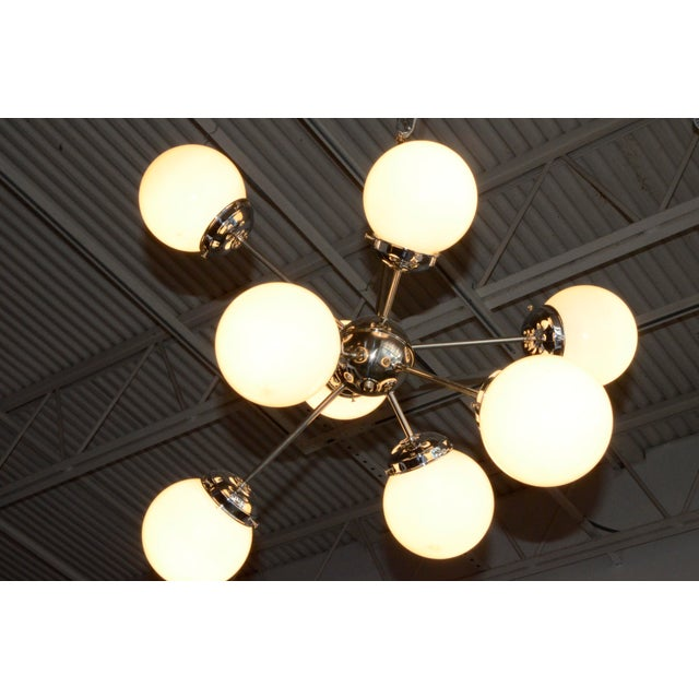 Image of Argetinian Eight White Globe and Chrome Sputnik Chandelier