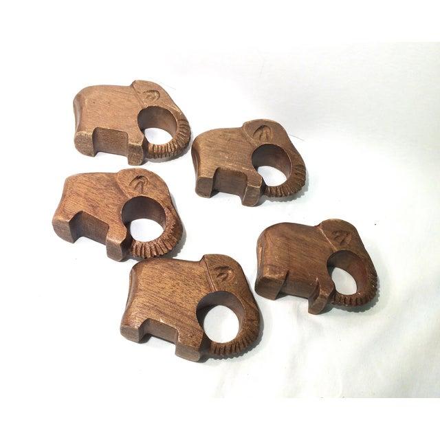 Vintage Carved Elephant Napkin Rings - Set of5 - Image 3 of 5