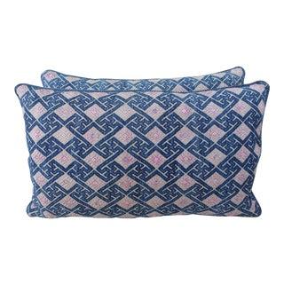 Custom Pink, Blue and Natural Hmong Pillows - A Pair
