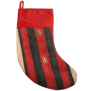 Rug & Relic Poinsettia Kilim Christmas Stocking