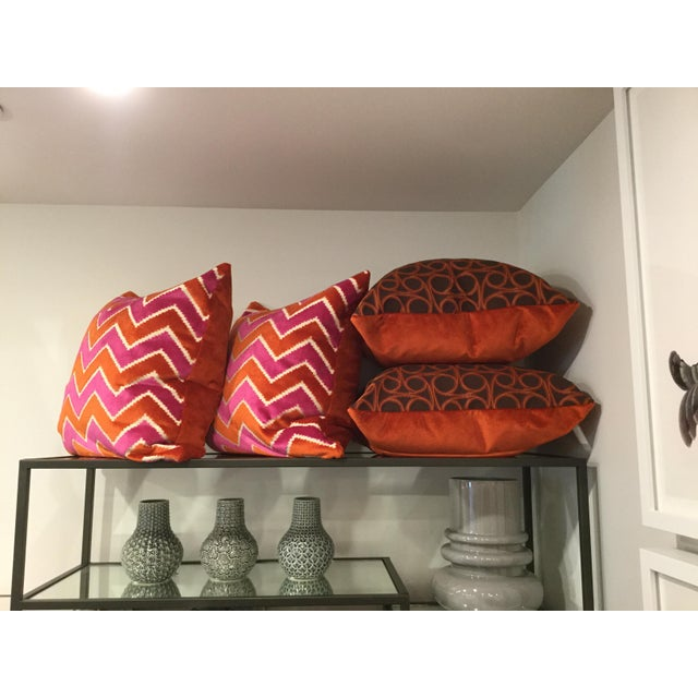 Kravet Orange Circle Jacquard/Pollack Orange Silk Velvet Pillows - a Pair - Image 8 of 8
