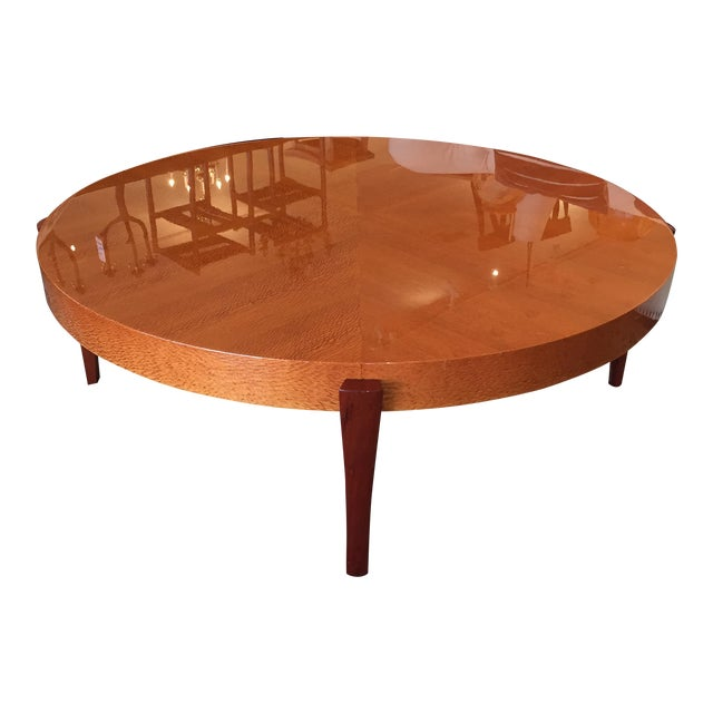 Round Exotic Wood Coffee Table Chairish