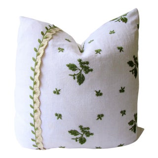 Vintage Linen Green Leaf Embroidery and Lace Pillow Cover